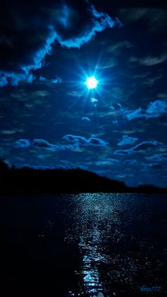 Scenic view of water, land and sky ~ all in shades of blue. Beautiful Moon, Beautiful World, Beautiful Places, Beautiful Scenery, Amazing Places, Blue Moon, Sky Moon, Stars And Moon, Belle Photo