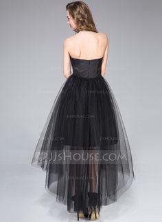 A-Line/Princess Strapless Asymmetrical Taffeta Tulle Homecoming Dress With Ruffle (022053557)