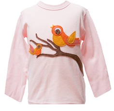 """Decaf Plush """"Mama & Baby Birds on a Branch"""" Bodysuit or T-Shirt"""