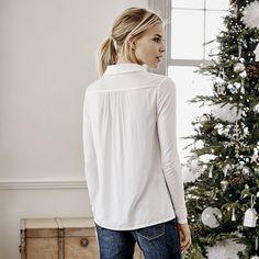 Woven Mix Jersey Shirt - White | The White Company