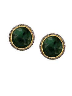 Timeless Classic Emerald and Diamond Stud Earrings