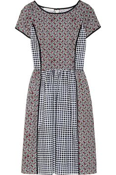 OSCAR DE LA RENTA - Printed stretch-cotton dress  Navy, white, red and baby-pink stretch-cotton Geometric and floral print motifs, navy piping, fitted waist, slit pockets Concealed hook and zip fastening at back 96% cotton, 4% spandex; lining: 100% silk