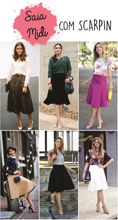 04 saia midi com scarpin look com scarpin, looks com saia midi, saia godê Fashion 2017, Fashion Outfits, Womens Fashion, Skirt Outfits, Cute Outfits, Modest Outfits, Sunday Clothes, Casual Street Style, Looks Style