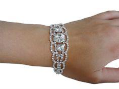 Brautschmuck armband silber  Armband-Strass-Perlen-Silber-Brautschmuck-Hochzeit | Armband ...