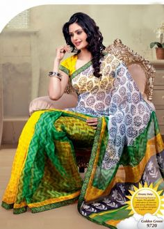Cream, Green with Yellow Colored Partly Designed Body with Yellow Colored Blouse part and Patch Work Border Semi Net Saree. http://www.shreedevitextile.com/women/sarees/synthetic-fancy-sarees/shree-devi/cream,green-with-yellow-colored-net-saree-9720