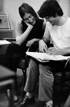John and Paul writing together in Apple Studios, London, photographed by Linda McCartney. (September?, 1968)
