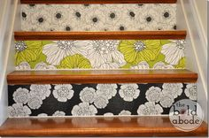 Why have boring stairs, when you could have a Stairway to Heaven with this amazing wallpaper from Spoonflower? Wallpaper Stairs, Of Wallpaper, Wallpaper Ideas, White Tile Backsplash, House Stairs, Loft Stairs, Basement Stairs, Glue Gun Crafts, Stair Risers