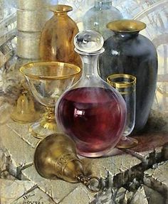 Maher Art Gallery: Yuri Yarosh Beautiful still life with very realistic reflections!