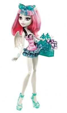 Monster High Rochelle Goyle Fashion Doll Swimsuit Pink Top Print Green Bottom