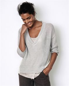 Poetry - Knitted and Woven Linen Top - With an open, airy stitch, this pure linen sweater has a woven linen back panel that wraps around the side seams for a flash of solid colour. With its casual, swingy fit and a deep, ribbed v-neckline, it's perfect layered over our linen jersey vests. 100% linen