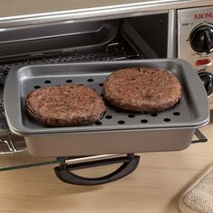 Toaster ovens are great for broiling meats. Broiler pans drain off unwanted fat and are fairly easy to clean.