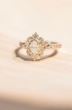 Best Diamond Engagement Rings : 18 Outstanding Floral Engagement Rings ❤ Floral ring designs are very multifun. - Buy Me Diamond Engagement Rings Without Diamonds, Beautiful Engagement Rings, Beautiful Rings, Diamond Engagement Rings, Halo Engagement, Solitaire Diamond, Solitaire Rings, Art Deco Engagement Rings, Marquise Diamond