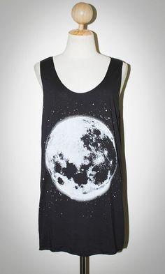 The Moon White Opaque Screen Black Tank Top Singlet Sleeveless Women Art Punk Rock T-Shirt Size L