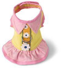Vestido Flores adorável cachorro Peitoral Amarelo/rosa Doggles Pet