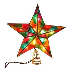 """9"""" Lighted Multi-Color Mosaic Star Christmas Tree Topper - Clear Lights KSA"""