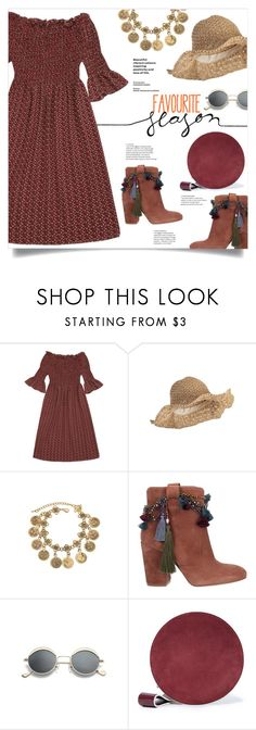 """""""A Little Bit Boho"""" by mahafromkailash ❤ liked on Polyvore featuring Strategia, Diane Von Furstenberg, boho, strawhat, offshoulderdress, offshoulder and summer2017"""