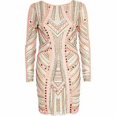 fecf3cb656 $160.00 Pink mirror embellished bodycon dress .... Remainds me of Balmain.. River  Island