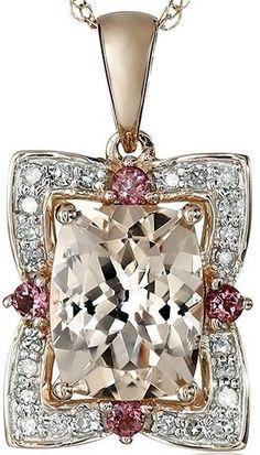 #Jewelry #Pendants 14k Rose Gold Morganite Pink Tourmaline and Diamond Pendant Necklace
