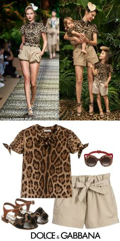 Dolce Gabbana Girl Mini-Me Brown Leopard Print T-Shirt Beige Shirts. Mommy me outfit inspired by the Dolce Gabbana Women's Sicilian Jungle Collection for Spring Summer DG girls brown leather sandals. Shop the look. Family Outfits, Girl Outfits, Summer Outfits, Cute Outfits, Girls Designer Clothes, Girls Special Occasion Dresses, Beige Shirt, Dolce And Gabbana Kids, Sunglasses Shop