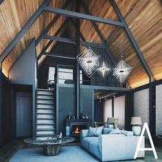via heavywait - modern design architecture interior design home decor & Tiny House Cabin, Tiny House Design, Cabin Homes, A Frame House Plans, A Frame Cabin, Triangle House, Modern Barn House, Cabin Interiors, House In The Woods