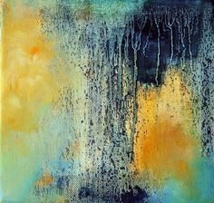 Waterfall  original abstract painting  square by Natureandart, $70.00