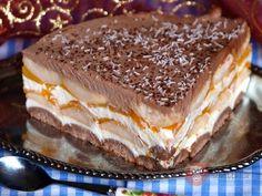 Peach cake without baking - Desserts - Kuchen İdeen Best Vegan Desserts, Cold Desserts, Sweet Desserts, Sweet Recipes, Trifle Desserts, No Bake Desserts, Easy Desserts, Baking Desserts, Baking Recipes
