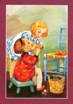post-card from gitten's toys, thank you, so cute and i love to make with yarn, these little girls are darling :) Children Images, Jouer, Vintage Images, Martini, My Favorite Things, Little Girls, Illustration, Elsa, Artwork