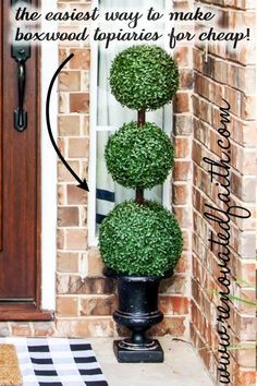 Making DIY large outdoor topiary trees is so easy and much easier than the ones online. This tutorial shows you how to make a topiary ball tree for your front porch, home décor or even wedding décor. If you're wondering how to make a topiary ball tree for a centerpiece you just follow these step by step instructions on a smaller scale. Included are several topiary decorating ideas for your diy artificial topiary trees. Porch Topiary, Topiary Decor, Outdoor Topiary, Porch Trees, Topiary Trees, Outdoor Trees, Boxwood Topiary, Outdoor Flowers, Topiary Plants