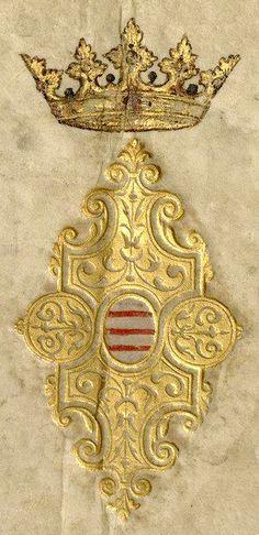 Reliure aux armes de Croy (couverture) «Recueil de blasons coloriés des chevaliers de l'Ordre du Saint-Esprit (1579-1581)», par J. Bette, sieur d'Angreau [BNF Ms Fr 25202 - ark:/12148/btv1b53038272f]