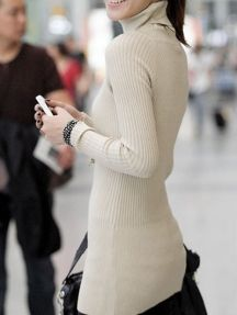 Beige Ladies Solid Color Stretch Warm Bodycon Knitted Sweater
