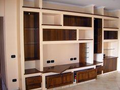 mobile in cartongesso Cupboard Designs For Hall, Tv Cupboard Design, Hall Cupboard, Cement Design, Home Library Design, Living Room Tv Unit, Tv Cabinets, Shelves, Furniture