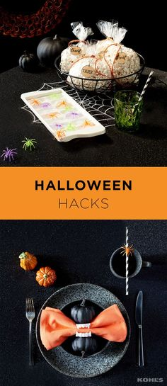 Those little Halloween toys are more useful than they seem! Incorporating them into your table is a fun way to decorate and stretch your dollars. Try making ice cubes with a scary frozen center using plastic spiders. Plastic vampire teeth double as ghoulish napkin rings that guests can pose in afterwards. Shop the Halloween tablescape decor at Kohl's.