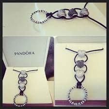 PANDORA Coloured Cord (Lariat) Neclace with 3 Heart Pave Charms and Pandora Ring!