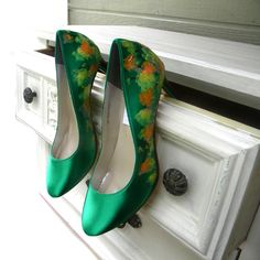 Wedding shoes Kelly green watercolor fall trees by norakaren, $225.00