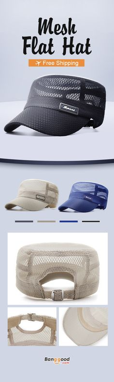 82c398bdced Men Summer Outdoor Mesh Breathable Flat Hat Quick-Drying Casual Sunscreen  Visor Hat