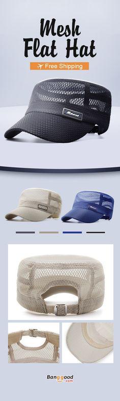 b0db28de Men Summer Outdoor Mesh Breathable Flat Hat Quick-Drying Casual Sunscreen Visor  Hat