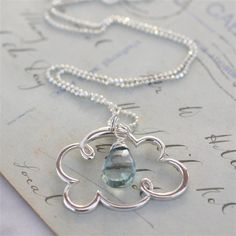 19 inches long artisan forged silver /'cloud/' with wire wrapped chalcedony necklace Cloud and Rain