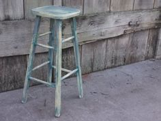 Rustic Chic, Hand Painted Barstool, rustic bar stool, wooden stool, wood stool, counter stool, tall stool, rustic furniture, rustic decor $75.00 + $38.16SH