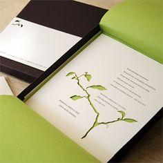 white and green laser cut branch wedding invitation | invite: modern-letterpress.com