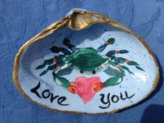 Hand Painted Clam Shell Chesapeake Bay by SallyTCrispCreations, $15.00