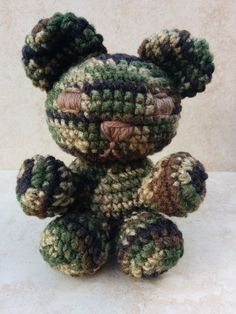 Camo Crochet Teddy Bear Soft Toy. Gift for by TorisToys on Etsy $10