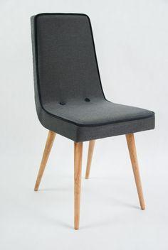 Zestaw 4 krzeseł w szara jodełkę Art deco, szare