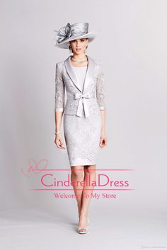 2015 Sheath Crew Neck Cap Sleeves Mother Of Bride Dresses With Jacket Lace Appliques Knee Length Prom Dress Mothers' Suits 991043, $125.66   DHgate.com