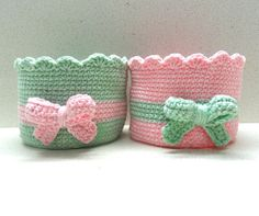 Bowl/basket  pink/teal green crocheted housewares two crocheted bowls