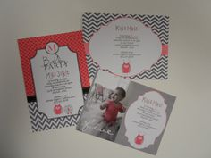 Pink and Gray Owl Invite Printable  Birthday Baby by 527Studio, $14.00