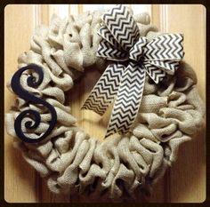 Chevron burlap wreath with large monogram- front door wreath- year round wreath- initial wreath- Christmas wreath