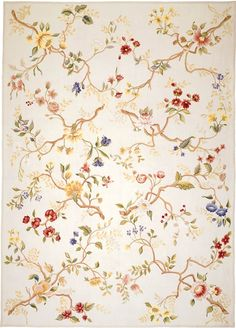 The Branches Needlepoint Rug is handmade from an original painting inspired by a silk brocade by the famous 18th century English textile designer Anna Maria Garthwaite now in the Victoria and Albert Museum, London. Rug Design Copyrighted Asmara, Inc.