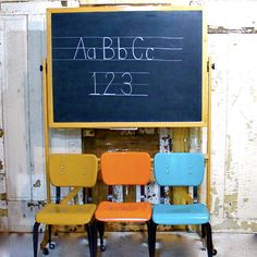 Vintage Chalkboard Blackboard Wooden Stand with Wheels School house collection. $195.00, via Etsy.