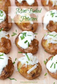 Mini baked potatoes recipe - fun and easy party food idea for bonfire night and the festive season from Eats Amazing UK