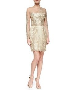Long-Sleeve Embroidered Overlay Cocktail Dress by Notte by Marchesa at Neiman Marcus.